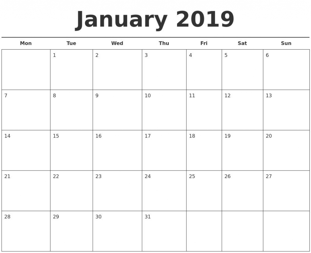 2019 calendar template printable month calendarjanuary 2019 create a calendar printable