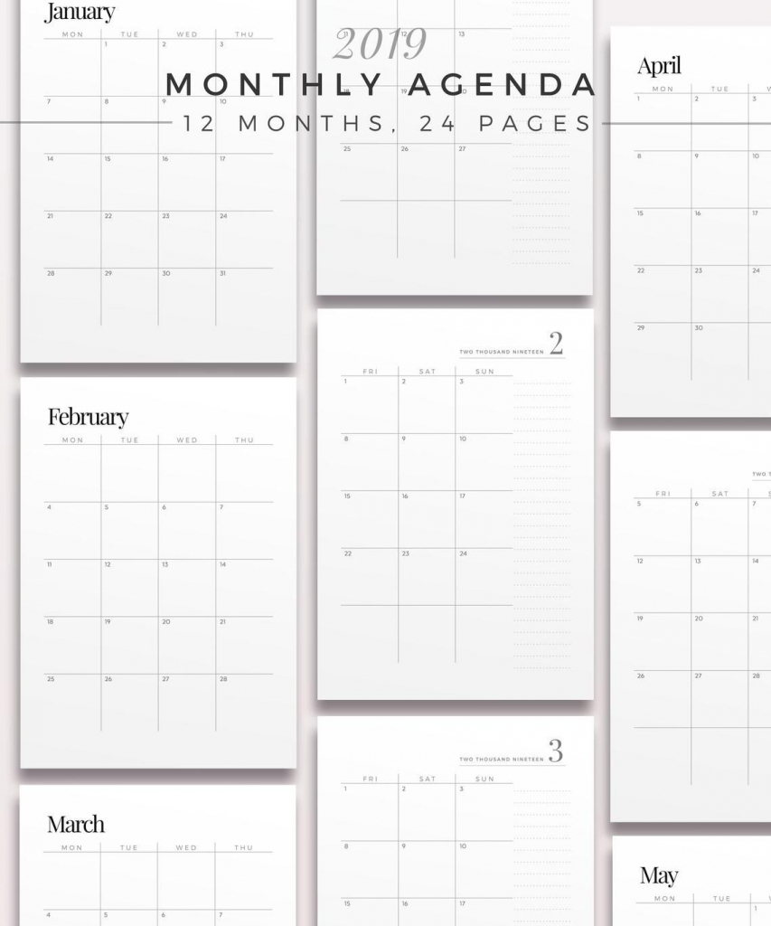 2019 two page monthly planner printable planner inserts two page planner printable