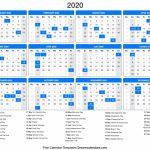 2020 Calendar Printable Calendar With Day Count