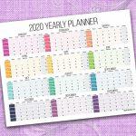 2020 Yearly Calendar 11×17 Printable Color Block 11x 17 Paper 2020 Calendar