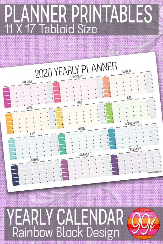 2020 yearly calendar 11x17 printable color block 11x 17 paper 2020 calendar