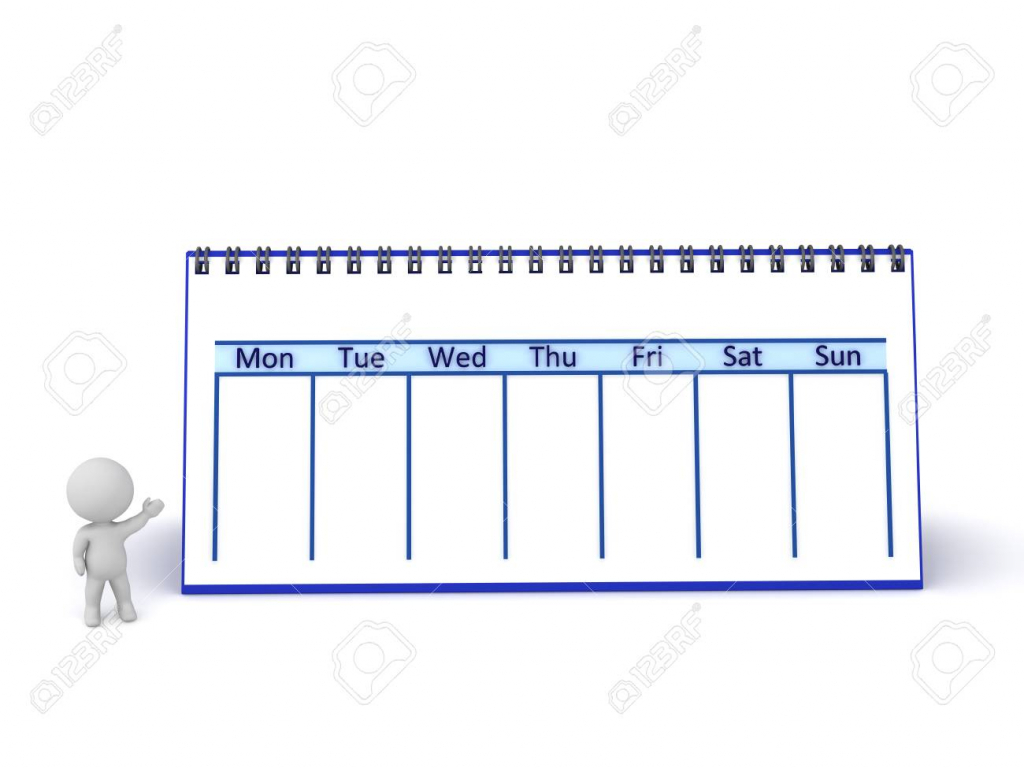 3d character with a large calendar showing one week isolated one week calendar