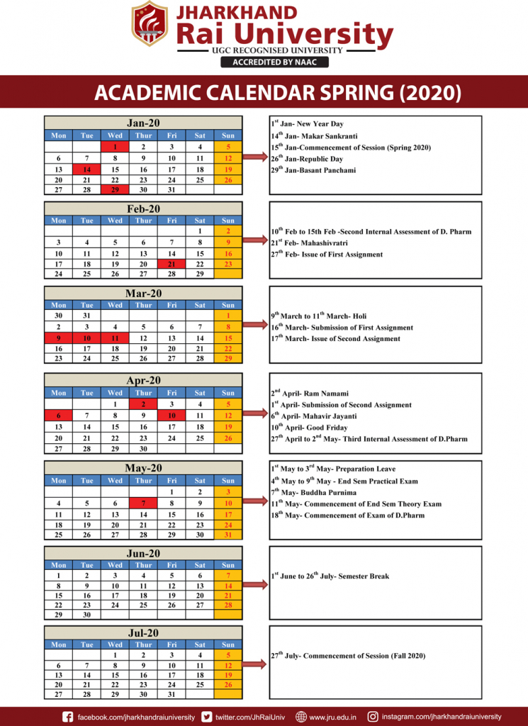 academic calendar spring 2020 jharkhand rai university second department calander may 21 2020
