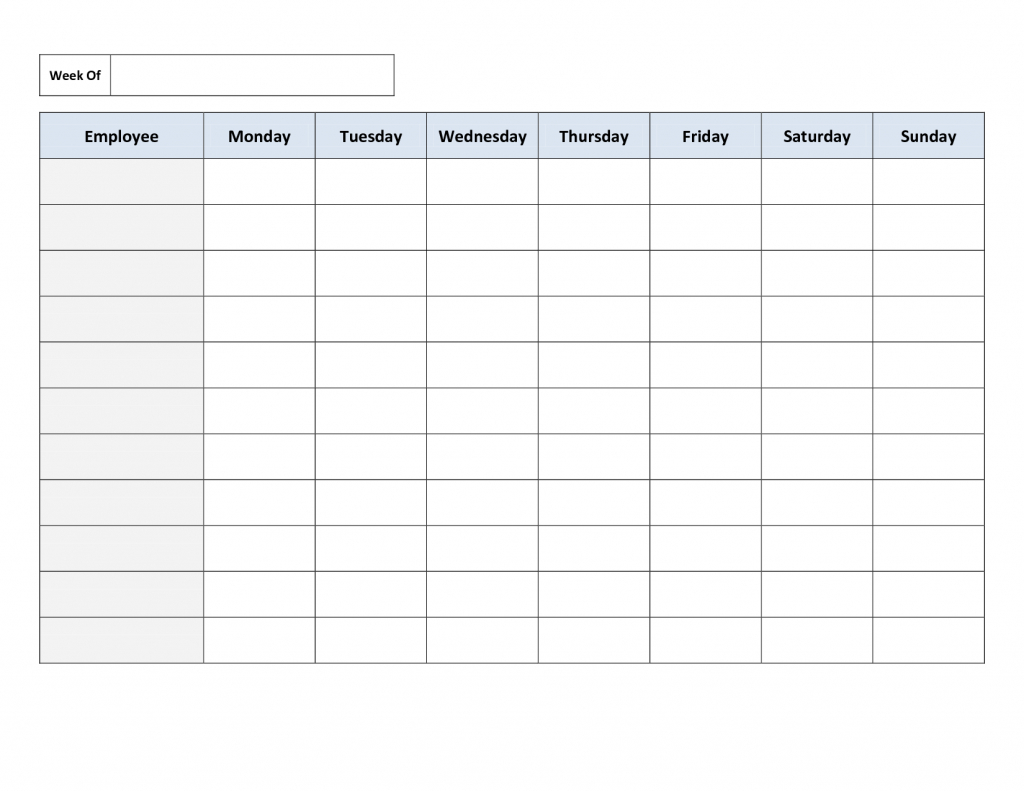 blank weekly work schedule template daily schedule printable work hours calendar