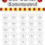 Disney World Countdown Calendar Free Printable Disney Free Disney Countdown Calendar Printable