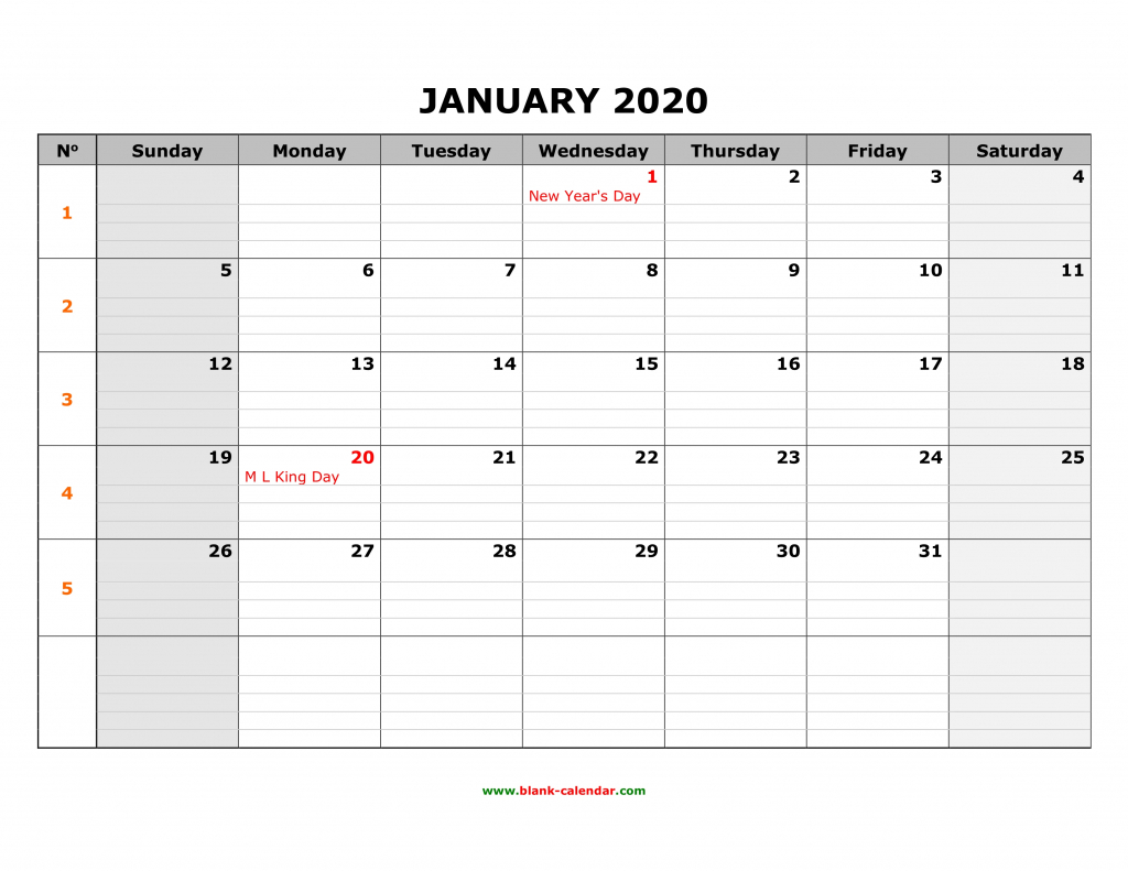 Free Download Printable Calendar 2020 Large Box Grid Space Printable 2020 Monthly Calendar With Lines