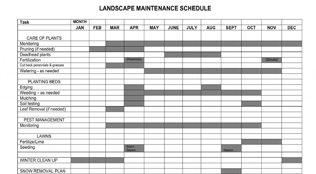 garden maintenance plan template of landscape maintenance calendar printable for lawn service