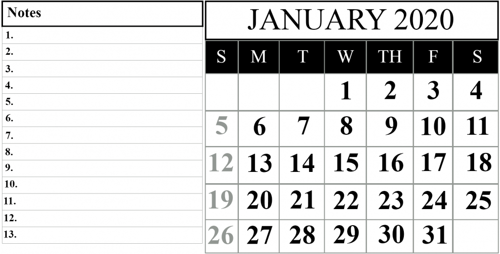 january 2020 printable calendar template 2020calendars calendar by waterproof paper 2020