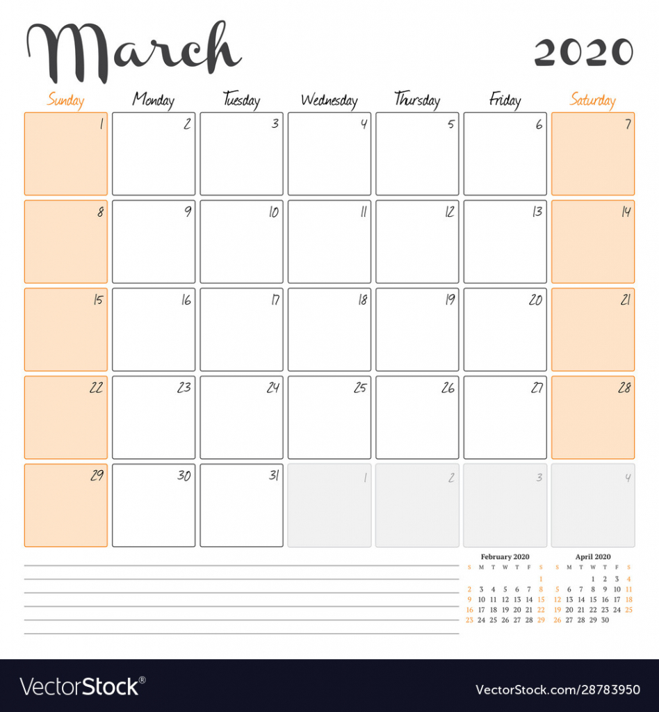 march 2020 monthly calendar planner printable printable 2020 monthly calendar with lines