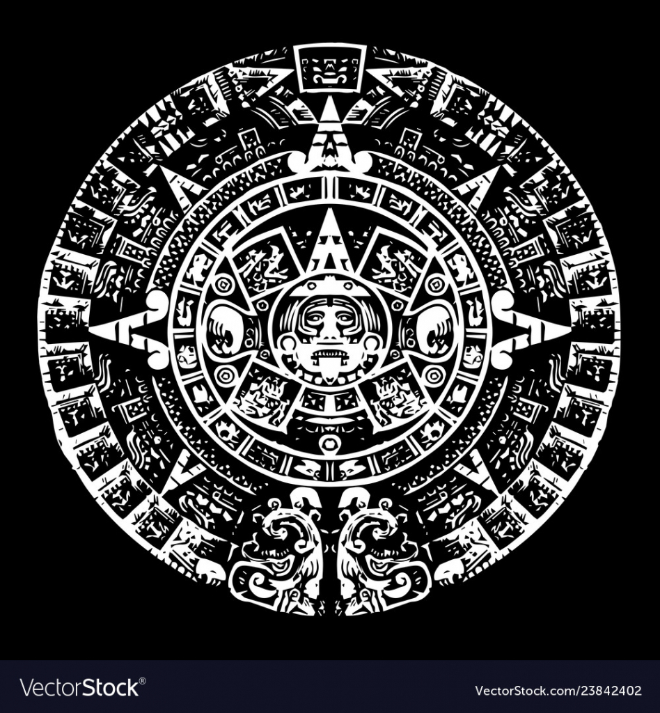 mayan calendar black and white with high detail pic of mayan calendar