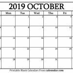 October 2019 Calendar Blank Editable Calendar Calendar October Callander 11×17