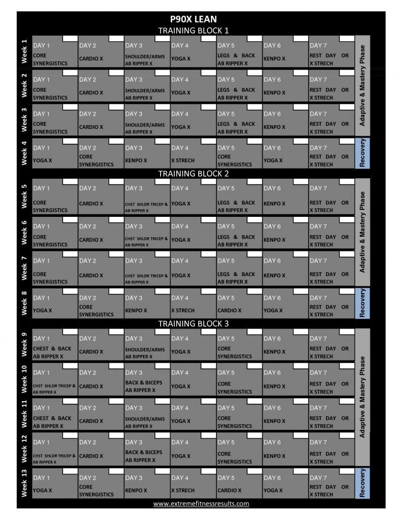 p90x workout calendar printable p90x classic schedule p90x schedule printable