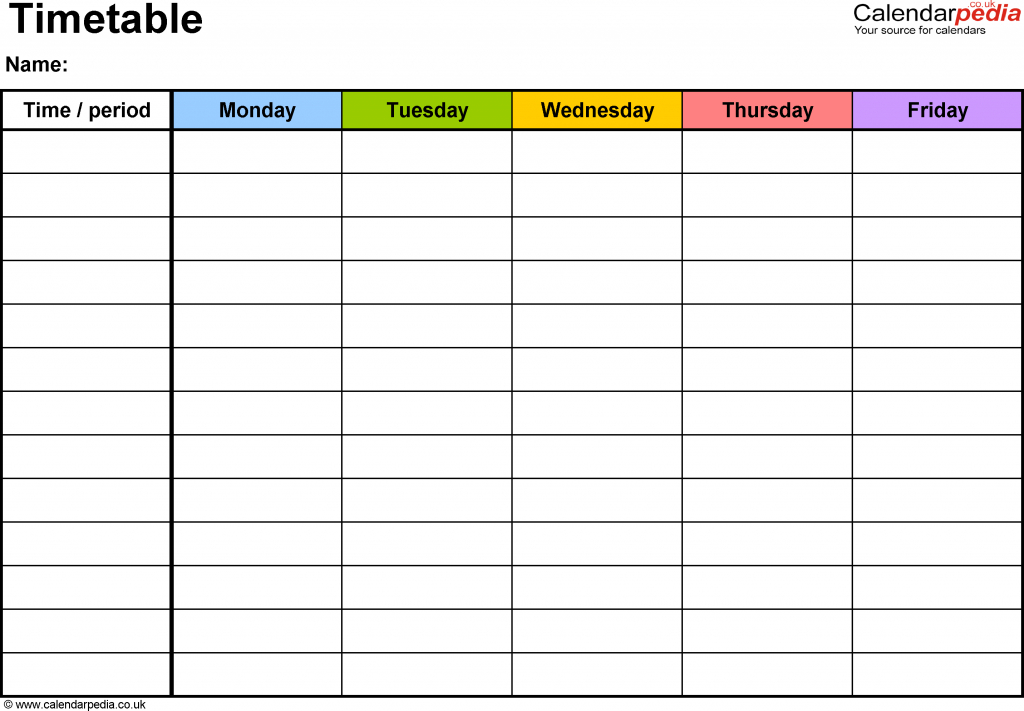 pdf timetable template 2 landscape format a4 1 page monday friday calendar template