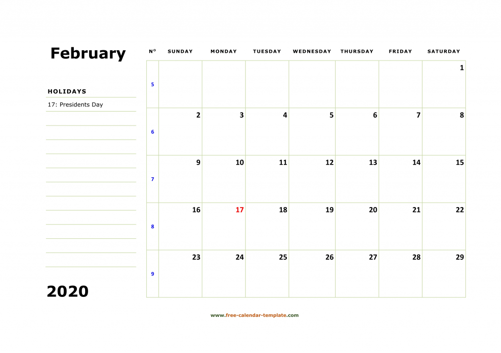 printable february 2020 calendar box and lines for notes printable 2020 monthly calendar with lines