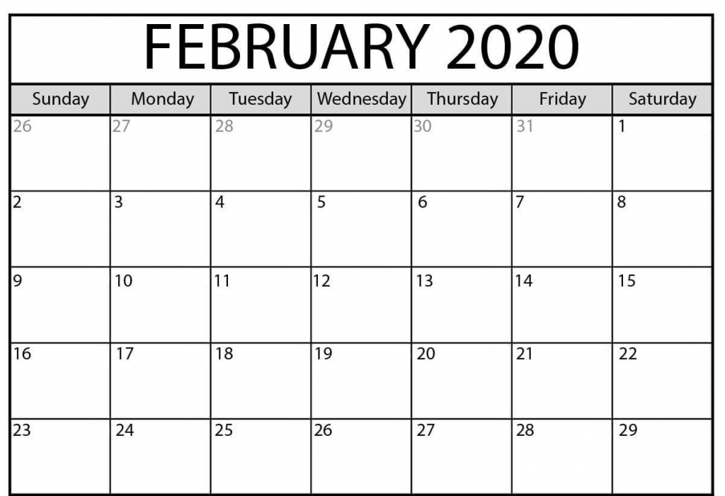 printable february 2020 calendar in 2020 printable calendar by waterproof paper 2020