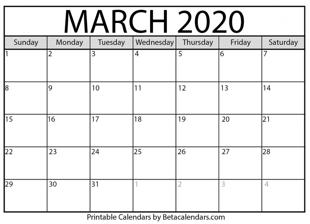 printable march 2020 calendar beta calendars fill in calendar template 2020
