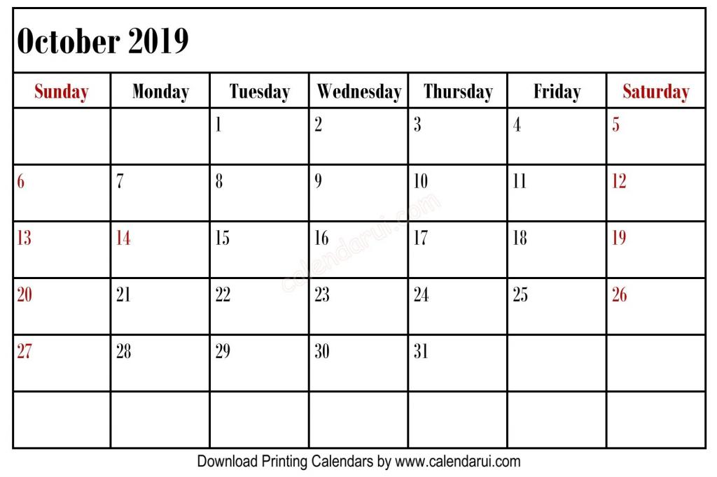 simple blank october 2019 calendar printable best free left october callander 11x17