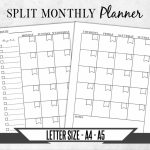 Split Monthly Calendar Monday Start Printable Planner Page Monthly Calendar With Split