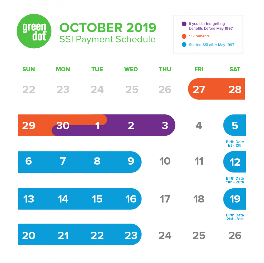 ssi social security benefits payment schedule october 2019 benefit calendar disability