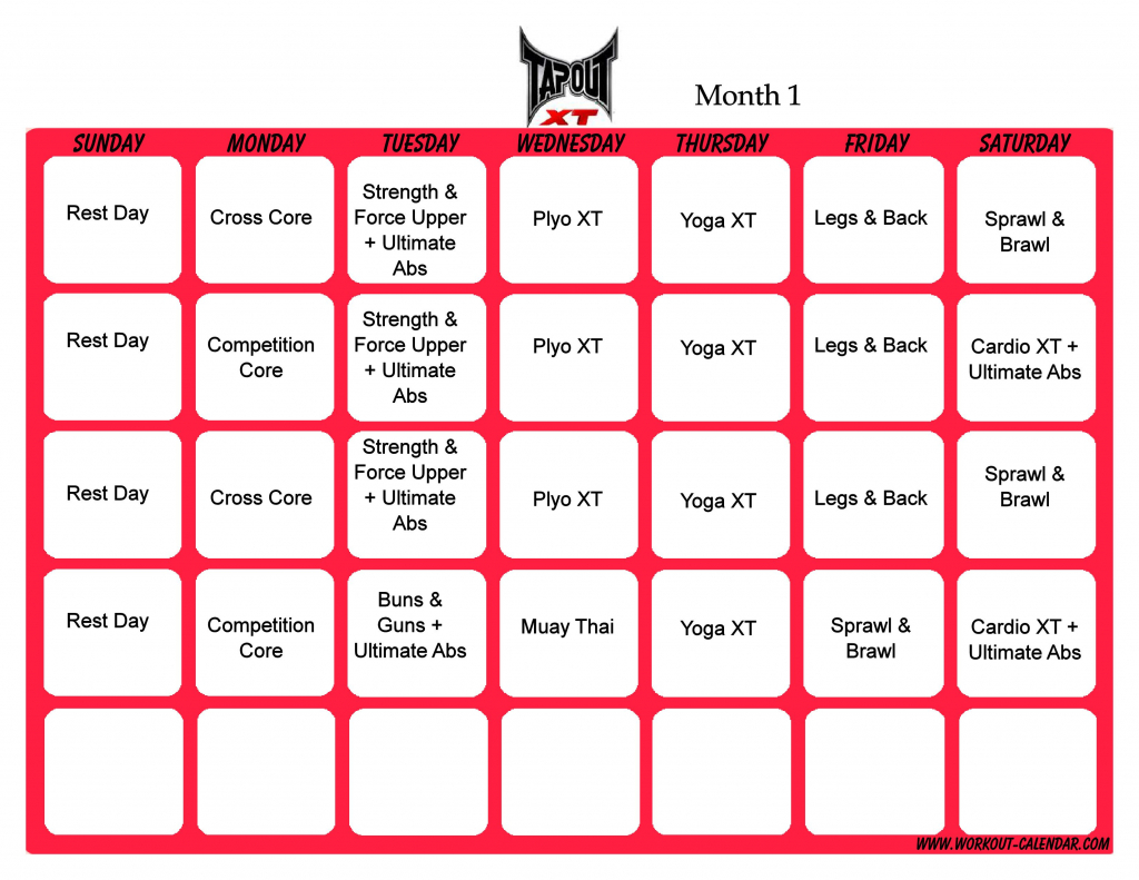 tapout schedule tapout xt schedule month 1 pdf tapout xt tap out schedule