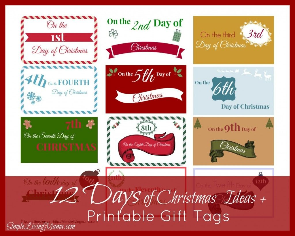the 12 days of christmas ideas printable gift tags 12 days of christmas advent calender template