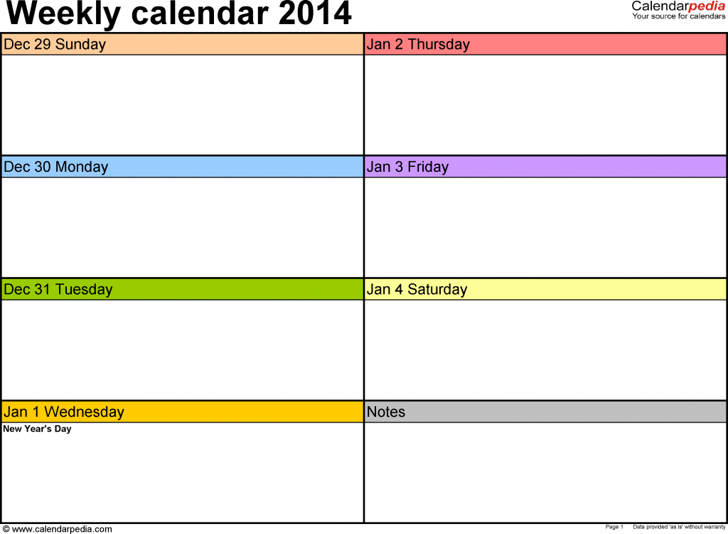 weekly calendars 2014 for pdf 4 free printable templates one week calender for kids