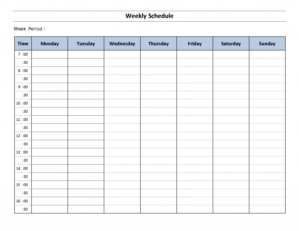 Weekly Schedule Template Weekly Calendar Template Weekly Weekly Calendar Template With Time Slots Free Download