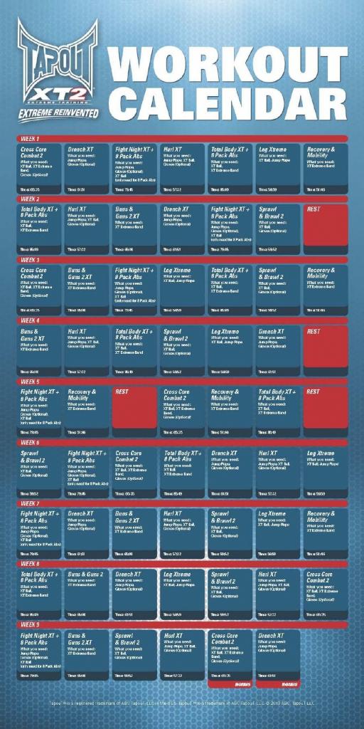 xt2 workout calendarpdf calendario de ejercicios tapout tap out schedule