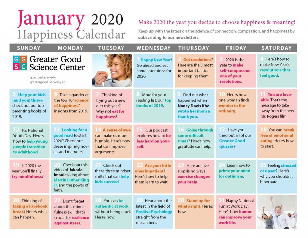 Your Happiness Calendar For January 2020 Trid Le Calendar 2020