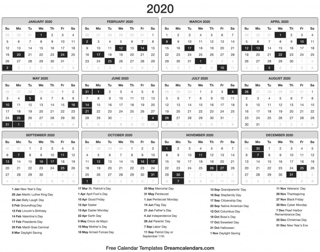 2020 calendar 2020 day count calander 2