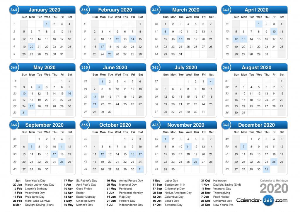 2020 calendar 2020 day count calander