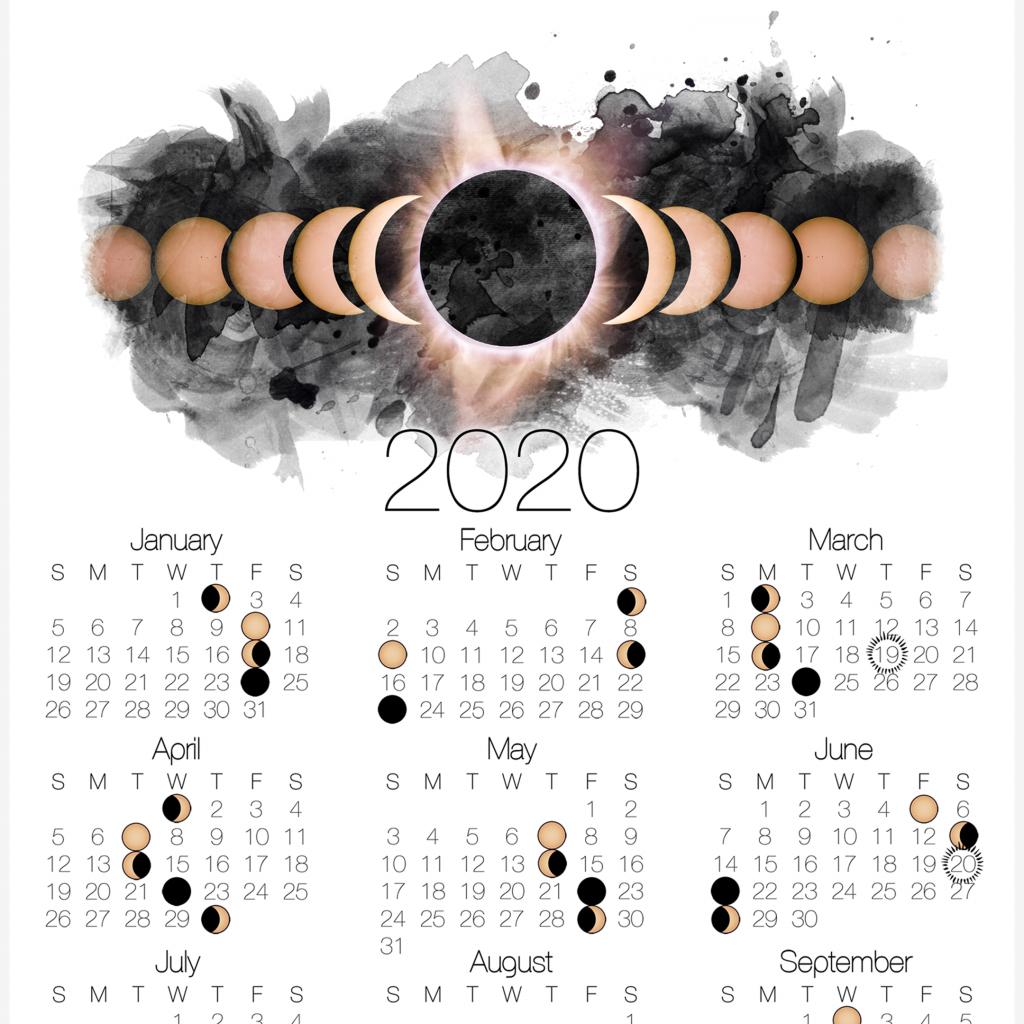 2020 moon phase calendar lunar calendar with solar eclipse free printable wiccan calendar 2020