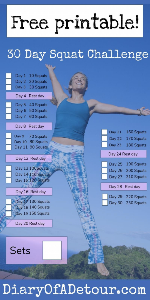 30 Day Squat Challenge A Fitness Challenge For All 30 Squat Challenge Printable 1