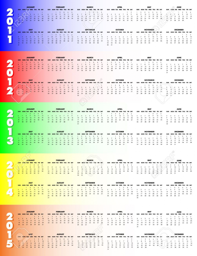 5 year calendar 2011 through 2015 on colorful background sunday start 5 year callendar