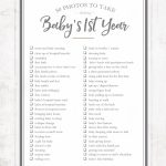 50 Photos To Take During Bas First Year Printable Baby First Year Calendar