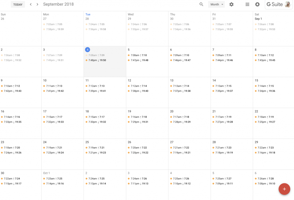 add sunrise and sunset times to google calendar sunrise and sunset calendar 2020