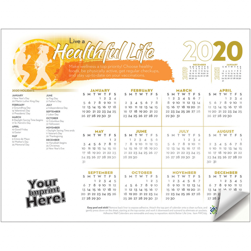 adhesive wall calendar 2020 live a healthful life health wellness orange peel calendar october 2020