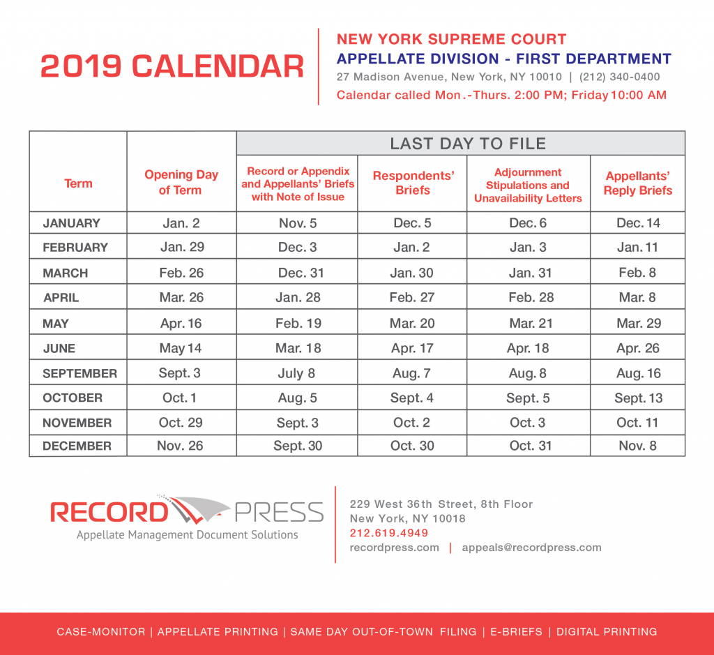 appellate division first department 2019 term calendar second department appellate division calendar