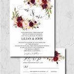 Burgundy Wedding Invitation Suite Template Marsala Wedding Printable Countdown Template Wedding