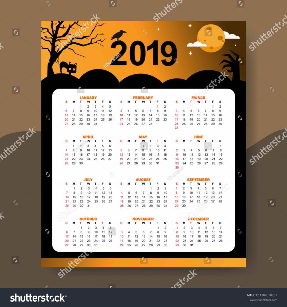 calendar 2019 halloween theme design template royalty free halloween calendar template