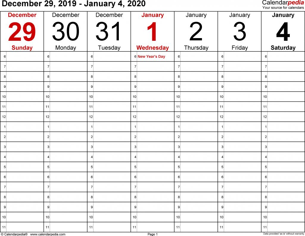 daily calendar 2020 printable monte calendar 7 day 2020 template printable