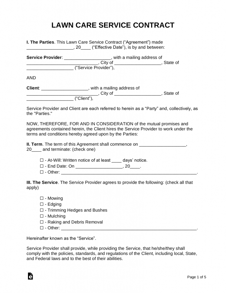 free lawn care contract template samples pdf word simple printable schedule for lawn care in nebraska