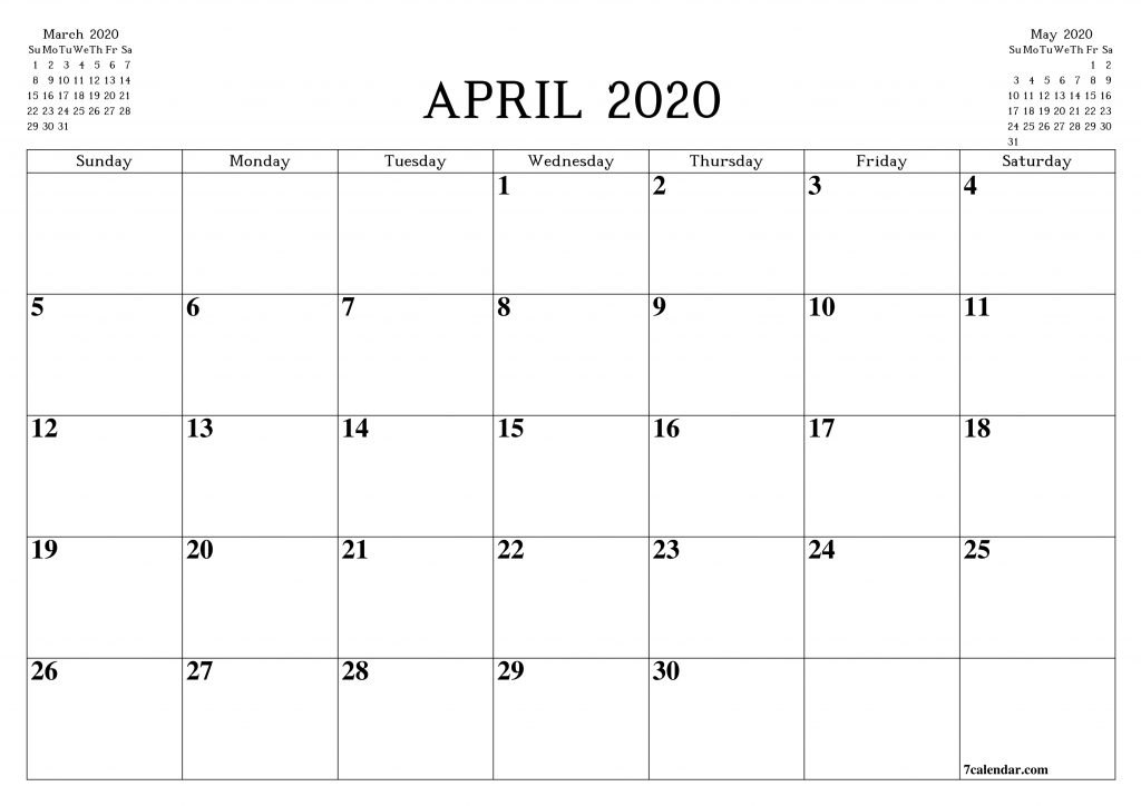 free printable blank monthly calendar and planner for april to do calendar to print