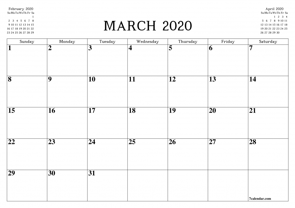 free printable blank monthly calendar and planner for march printable 30 day calendar 2020