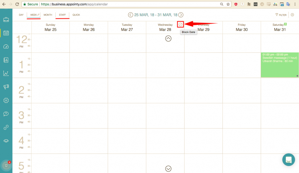how to block out dayshours in the schedule appointy a calendar view by days and hours