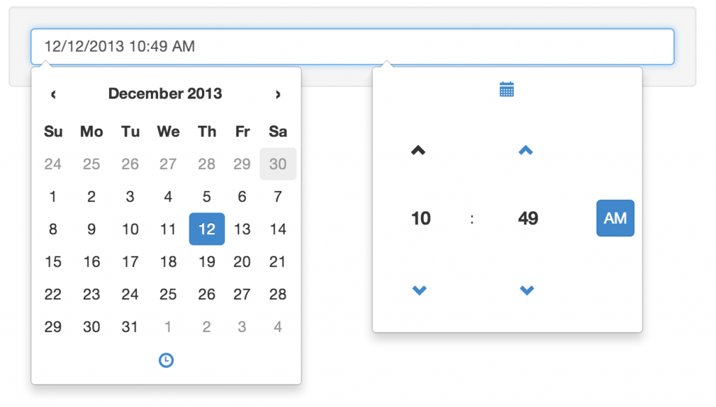 jquery bootstrap datetime picker date time calendar