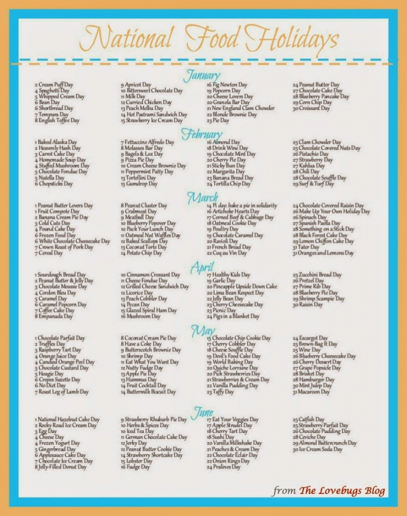 list of national food holidays in the us freeprintable national food day calander 2020