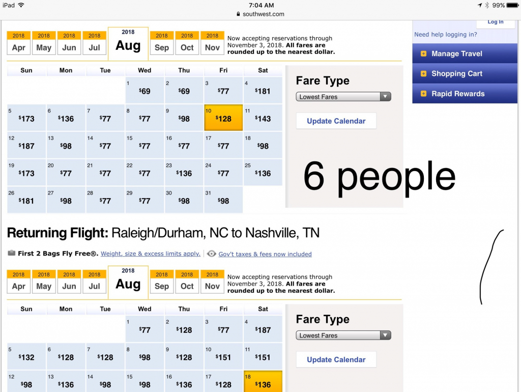 low fare calendar varies based on of people flyertalk south west low fair clender
