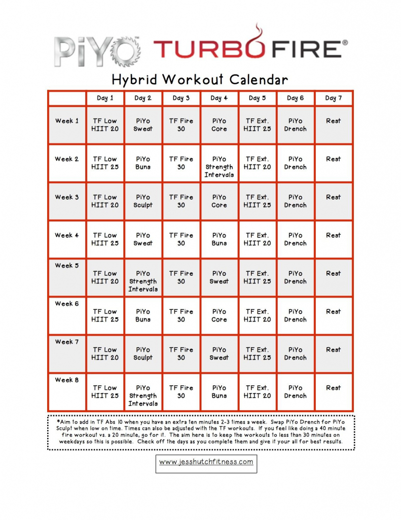 piyoturbofire hybrid calendar workout calendar workout turbo fire calendar