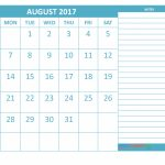 Printable New 2017 Monthly Calendar Side Notes First Row Printable Calendar With Notes On The Side